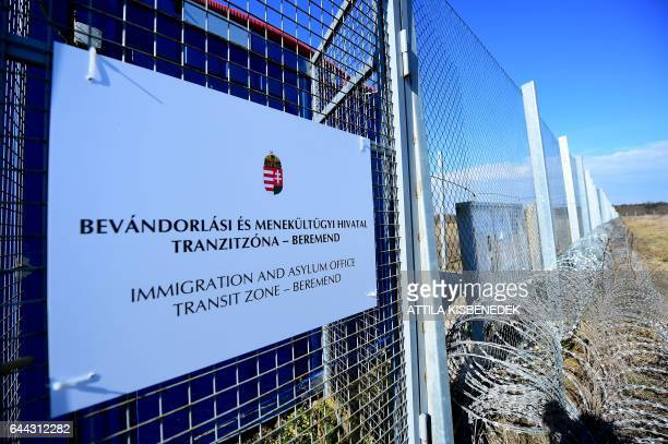 A part of the border fence is seen at the HungarianCroatian border nearby the transit zone of Beremend border cross point on February 23 2017 The...