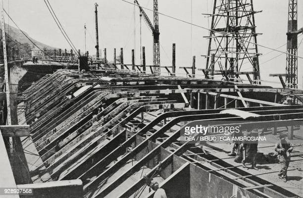 Part of the bow of the dreadnought Caracciolo of the Italian Royal Navy construction phase on May 31 Castellammare di Stabia Italy from...