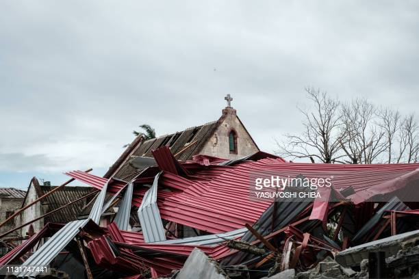 A part of the building of Anglicana Comunhao church is broken by strong cyclone which hit in Beira Mozambique on March 20 2019 Five days after...