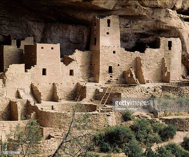 Part of the Cliff Palace at Mesa Verde showing dwellings and kivas The kivas may be distinguished by their circular shape USA Basketmaker and Pueblo...