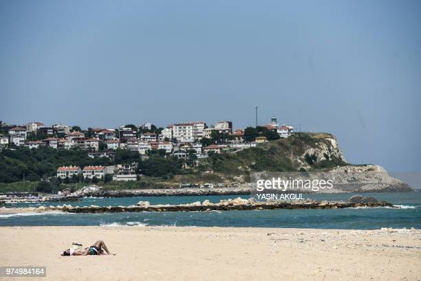 A part of the coast of a small coastal village of Karaburun near Istanbul is pictured on June 12 2018 Karaburun's residents are waiting if a...