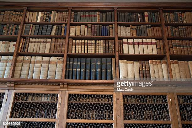 Part of the collection of rare and valuable books is seen as it is open to members of the public visiting the library at Salisbury Cathedral on...