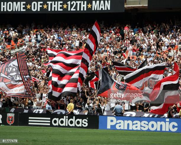 Part of the crowd of over 36000 who turned up to watch DC United play Los Angeles Galaxy in an MLS match at RFK Stadium on June 29 2008 in Washington...