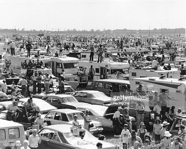 Part of the crowded infield for a race at Daytona International Speedway