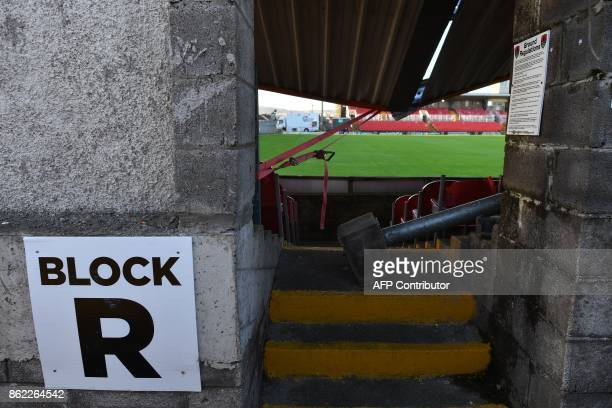 Part of the damaged roof of Turners Cross stadium home to the Munster Football Association and League of Ireland side Cork City is seen in Irelands...