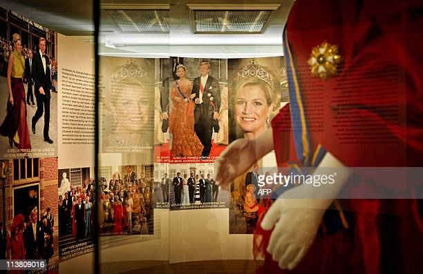 A part of the exhibition entitled 'Maxima 10 years in the Netheralnds' is pictured at the Palace Het Loo in Apeldoorn on May 6 2011 The exhibition...