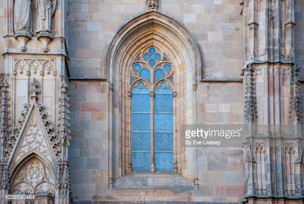 part of the facade of barcelona cathedral - gothic stock pictures, royalty-free photos & images