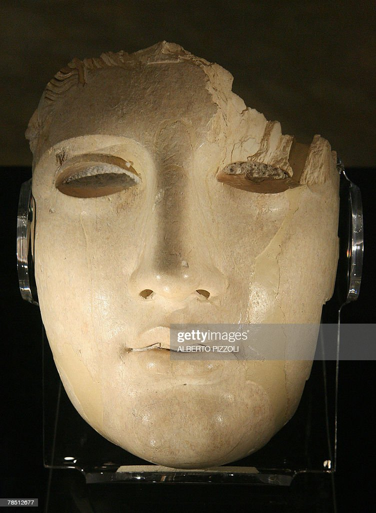 Part of the face of an ivory statue dated to the first century B C