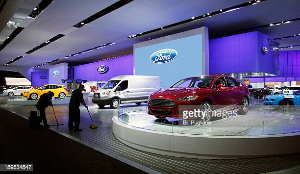 Part of the Ford exhibit is shown early in the morning prior to the start of the 2013 North American International Auto Show media preview January 15...