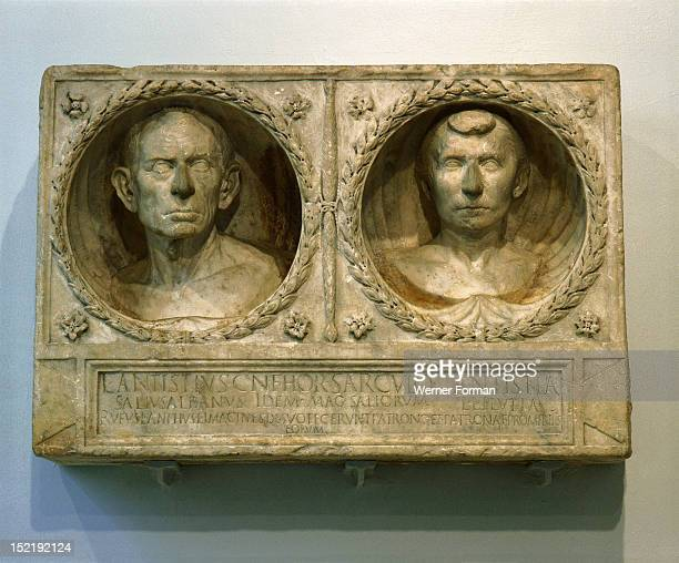 Part of the funerary monument of Lucius Antistius Sarculo, a free born Roman priest of the Salian order and his wife and freedwoman, Antistia Plutia,...