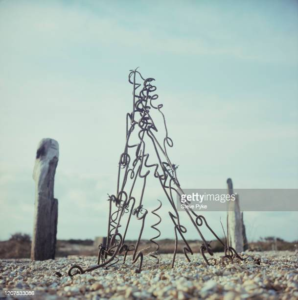 Part of the garden created by British filmmaker Derek Jarman using shingle driftwood plants and scrap metal at Prospect Cottage his home on the beach...