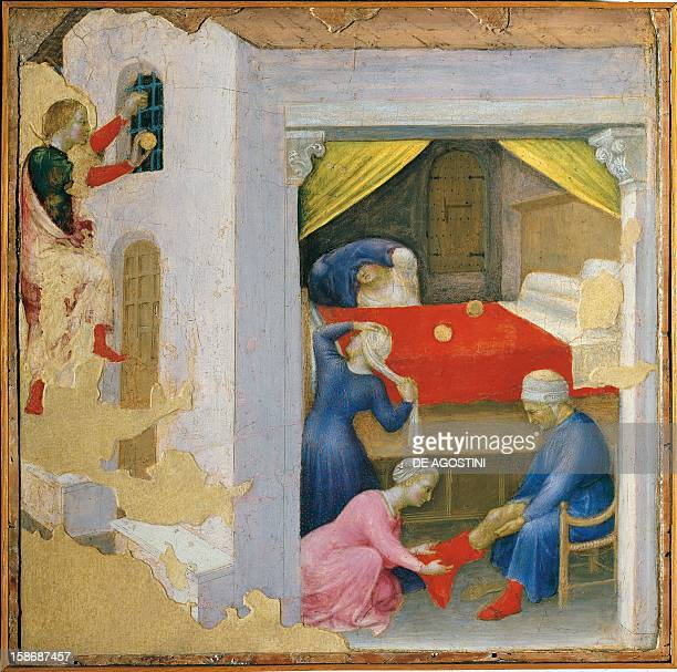Part of the Gentile da Fabriano series Saint Nicolas Giving Three Balls of Gold to Three Poor Girls Quaratesi Polyptych Predella The Miracle of the...