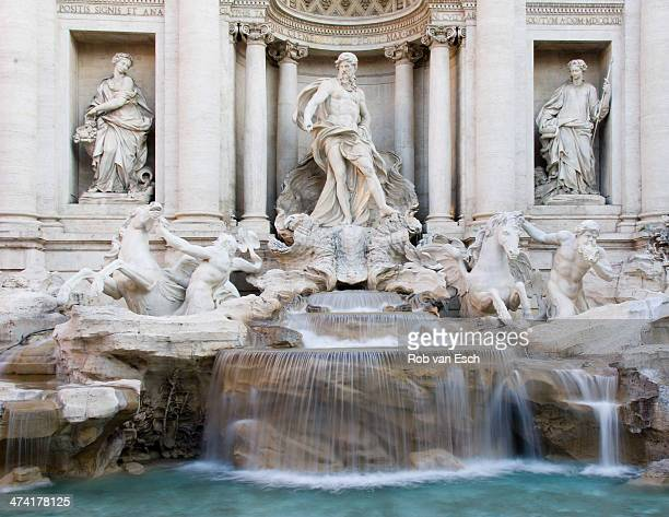 CONTENT] Part of the historic Trevi fountain in Rome one of the main tourist attractions shot with long shutter speed leading to blurred water falls...