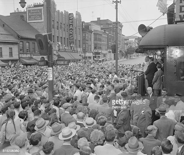 Part of the huge crowd that gathered in York Pennsylvania this morning for a glimpse of President Truman as his train returning him to Washington...