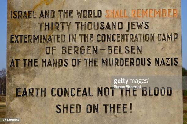 Part of the inscription on the Jewish Memorial at the former BergenBelsen German Nazi concentration camp in Lower Saxony Germany 2014 The inscription...