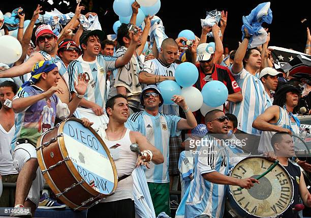 Part of the large contingent of Argentine fans present for the international friendly match against USA at Giants Stadium on June 8 2008 in East...