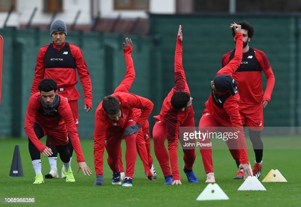 Part of the Liverpool Team during a training session Melwood Training Ground on December 6 2018 in Liverpool England
