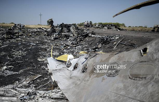 A part of the Malaysia Airlines Flight MH17 at the crash site in the village of Hrabove some 80km east of Donetsk on August 2 2014 Shelling today...