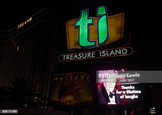 A part of the marquee at the Treasure Island Hotel Casino shows a tribute to entertainer Jerry Lewis on August 21 2017 in Las Vegas Nevada Lewis died...