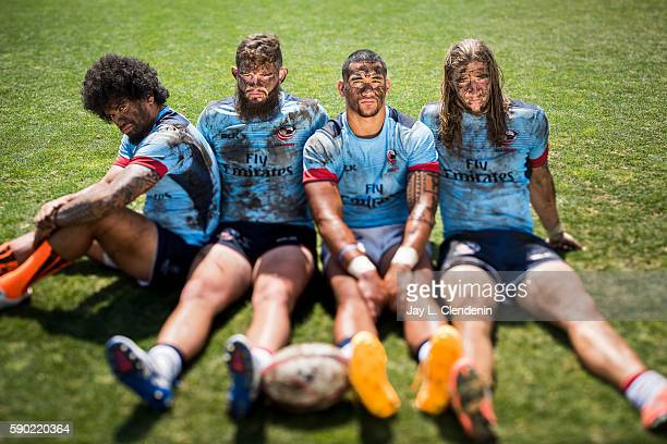 Part of the Men's Sevens USA Rugby team Folau Niua Danny Berret Martin Iosefo Garrett Bender for Los Angeles Times on June 22 2016 in Chula Vista...
