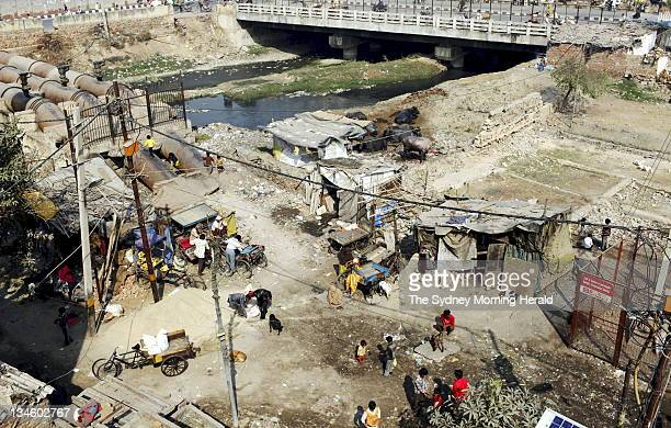 Part of the New Delhi slum in India where Australians Mark and Cathy Delaney have been living in for 13 years 27 February 2009