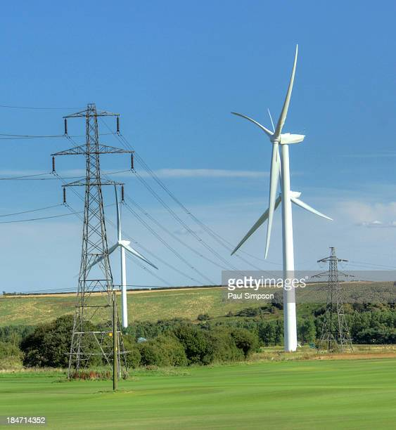 Part of the new wind farm just outside Scunthorpe. Built next to existing power lines this image shows the way nature is being used to harness energy.