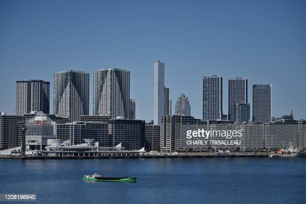 Part of the Olympic village is pictured in Tokyo on March 25 the day after the historic decision to postpone the 2020 Tokyo Olympic Games. - Japan on...