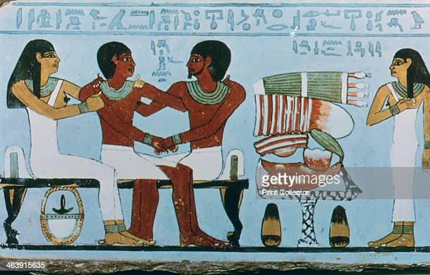 Part of the painted limestone tomb stela of Amenemhet, Abydos, Egypt, 22nd-20th century BC. Amenemhet was a prominent official of the 11th Dynasty.