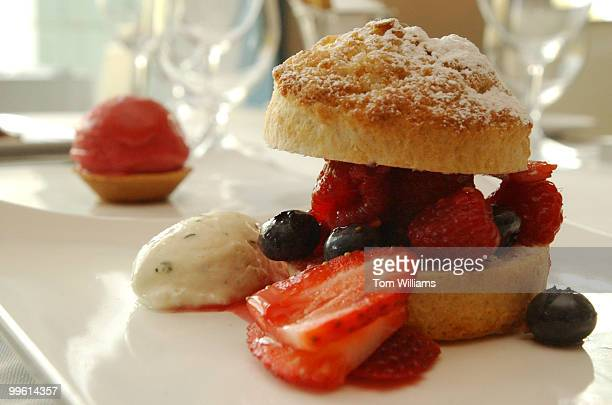 Part of the Prix Fixe Menu at Charlie Palmer's on Capitol HillBerry Shortcake tarragon cream and mixed berry sorbet