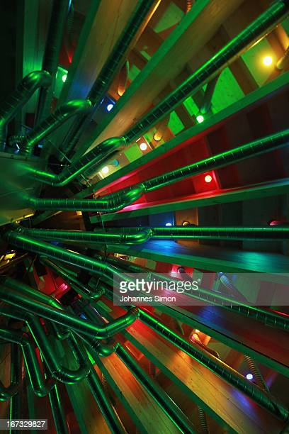 Part of the 'Seebuehne' stage design is seen during the roofing ceremony on April 24, 2013 in Bregenz, Austria. The premiere of the opera on the lake...