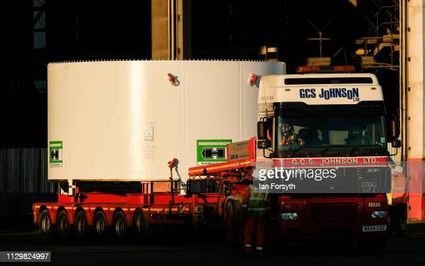 Part of the Sirius Minerals Tunnel Boring Machine is loaded onto a lorry ahead of a road move after arriving by ship from Rotterdam at the AV Dawson...