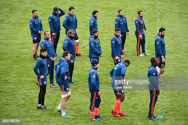 Part of the squad during the training session of the France rugby team at Centre National de Rugby on January 31 2017 in Marcoussis France