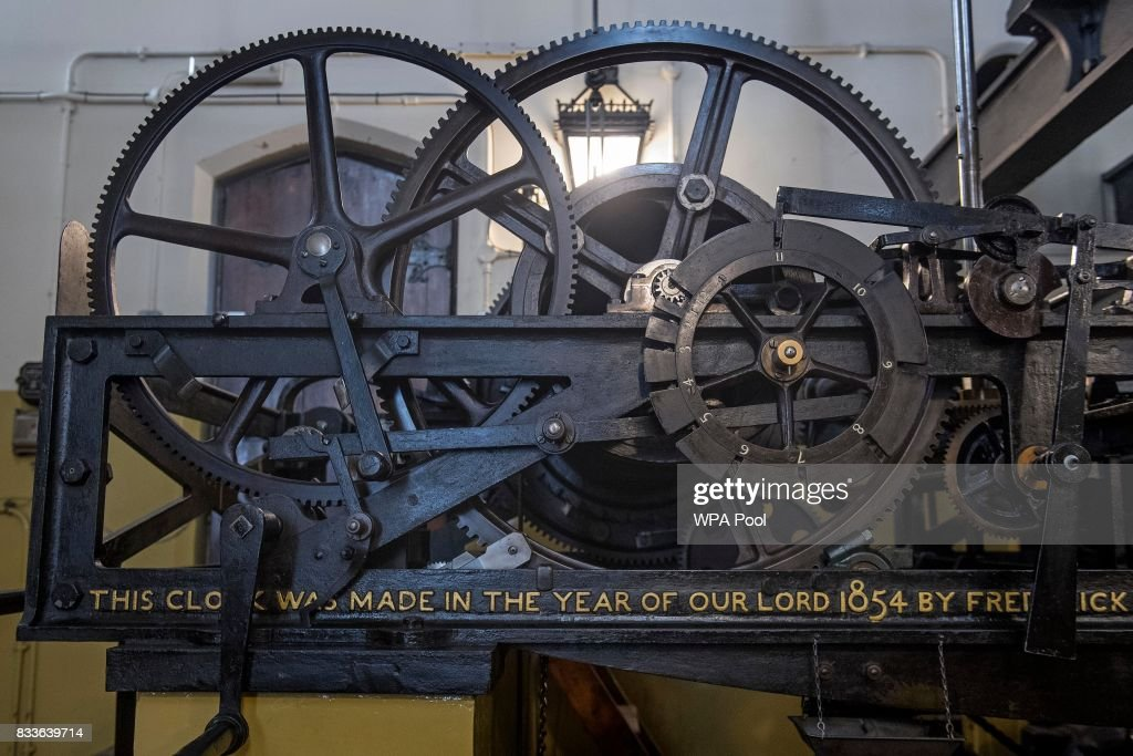 Part of the three-train clock, which drives the hands of Big Ben is seen in the mechanism room, which will be dismantled and cleaned during the renovation work on the Elizabeth Tower at the Palace of Westminster on August 17, 2017 in London, England.