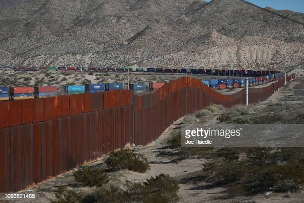 A part of the US Border wall is seen on January 13 2019 in Ciudad Juarez Mexico The US government is partially shutdown as President Donald Trump is...