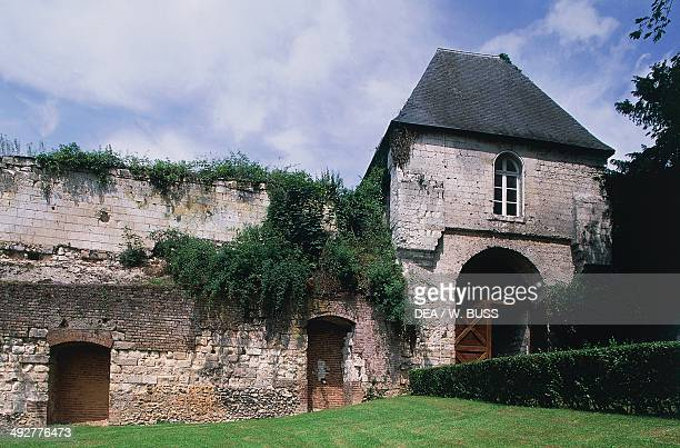 Part of the walls of Chateau of Lucheux founded in 1120 Picardy France