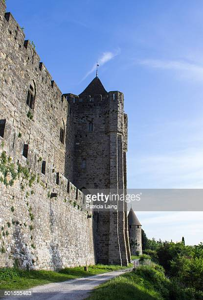 Part of the walls of the fortified city of Carcassonne, Aude, France.