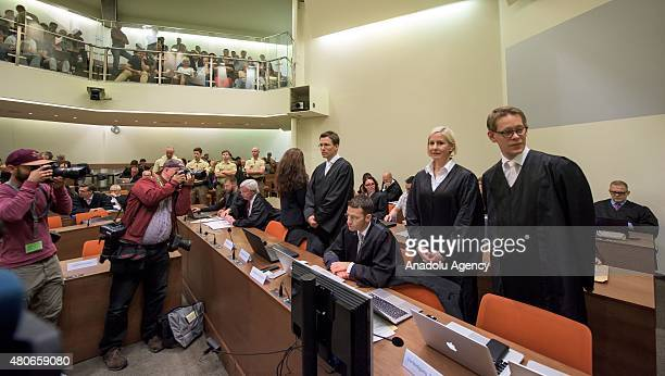 EDITORS NOTE Part of this image has been pixellated to obscure the identity of the defendants Codefendants Andre E Beate Zschaepe her new lawyer...
