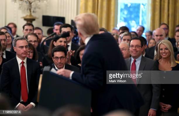 Part of Trump's impeachment legal team, White House counsel Pat Cipollone, Jay Sekulow, Deputy White House Counsel Michael Purpura and Pam Bondi...