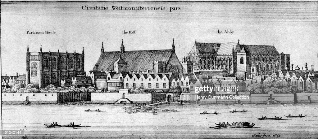 1647, Part of Westminster, with Parliament House, Westminster Hall, and Westminster Abbey. Original Artwork: Illustrated by Wenceslaus Hollar (1607 - 1677), the Bohemian print maker and draughtsman.