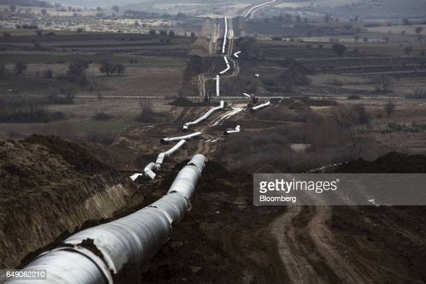 Part welded pipe sections sit before laying beside a trench at the 685km point during the construction of the Trans Adriatic gas pipeline in Chamilo...