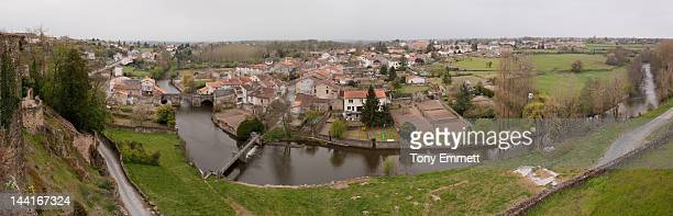 parthenay  panorama - deux sevres stock photos and pictures