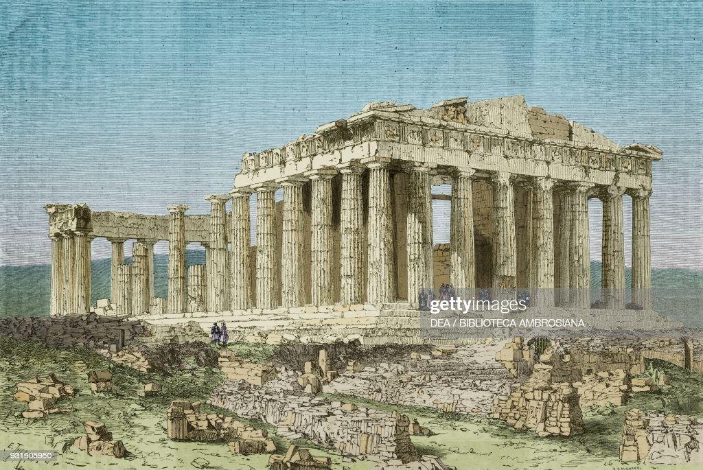 Parthenon, Acropolis of Athens, drawing : News Photo