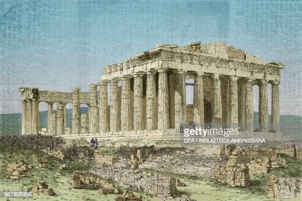 Parthenon Acropolis of Athens Greece drawing from A Winter in Athens by Antonin Proust from Il Giro del mondo Journal of geography travel and...