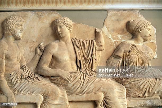 Parthenon frieze depicting Poseidon, Apollo, Artemis and Athena, from left to right, Greece. Greek civilisation, 5th century BC. Athens, Moussío