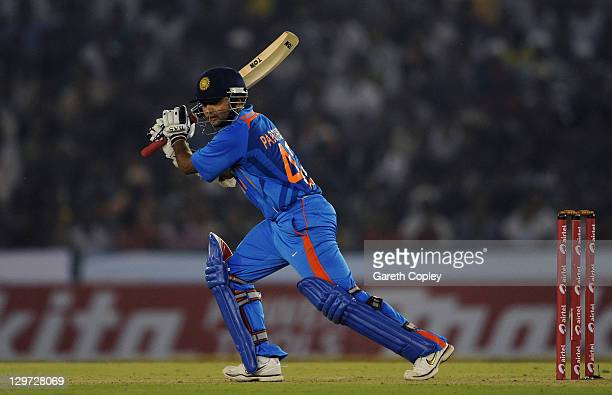 Parthiv Patel of India bats during the 3rd One Day International between India and England at The Punjab Cricket Association Stadium on October 20...