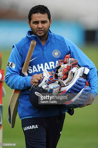 Parthiv Patel of India during a nets session at Old Trafford on August 30 2011 in Manchester England