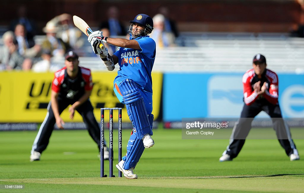 Parthiv Patel of India hits out during the 4th Natwest One Day International match between England and India at Lord's Cricket Ground on September 11, 2011 in London, United Kingdom.
