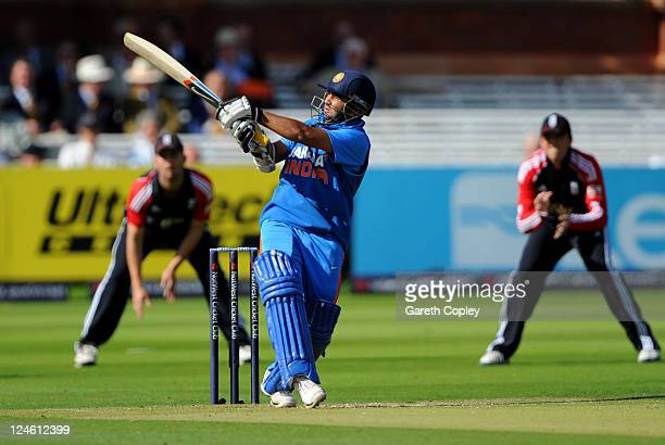 Parthiv Patel of India hits out during the 4th Natwest One Day International match between England and India at Lord's Cricket Ground on September 11...