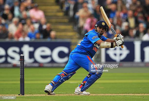 Parthiv Patel of India hits the ball towards the boundary during the 1st NatWest One day International Series match between England and India at The...