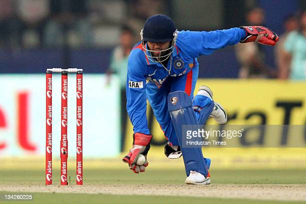 Parthiv Patel of India in action during the first One Day International match between India and West Indies at Barabati Stadium in Cuttak India on...